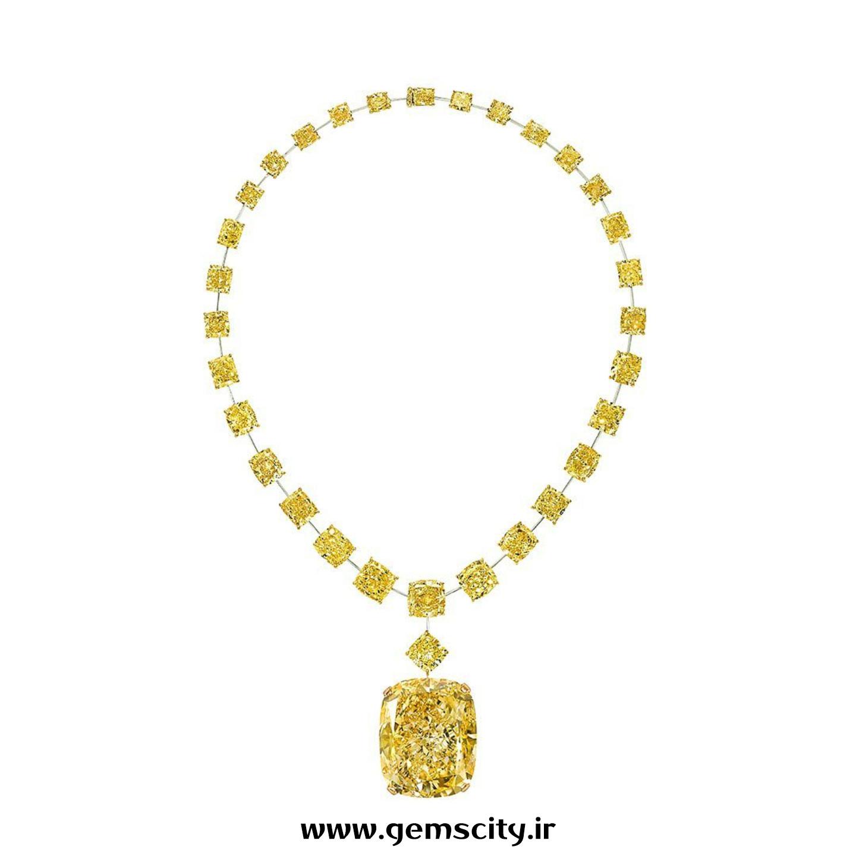 الماس کوشن تراش گرف با رنگ زرد فانتزی